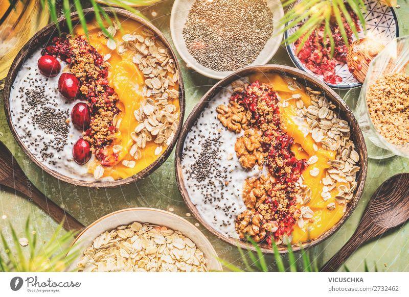 Smoothie bowls with fruit, muesli and nuts Food Yoghurt Fruit Grain Nutrition Breakfast Organic produce Vegetarian diet Diet Crockery Style Healthy