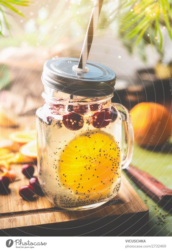 Healthy drink with Chia seeds water and orange Food Fruit Orange Beverage Cold drink Drinking water Lemonade Juice Crockery Cup Bottle Glass Style Design