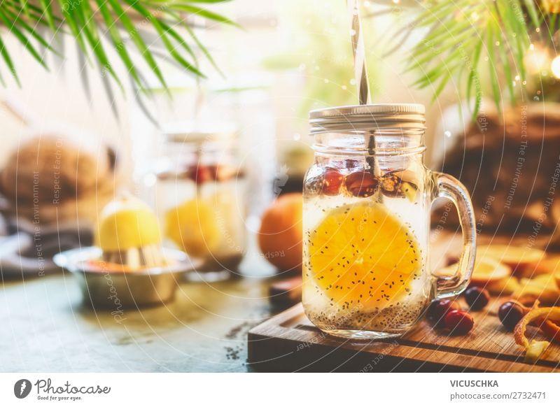 Healthy summer drink with Chia seed detox water Food Fruit Nutrition Breakfast Organic produce Vegetarian diet Diet Beverage Cold drink Drinking water Lemonade