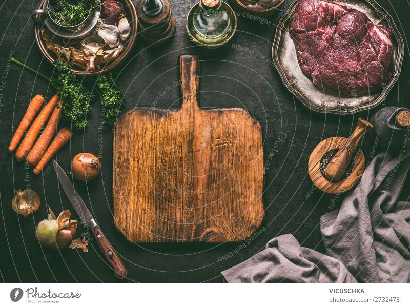 Cutting board background with meat ingredients Food Meat Nutrition Organic produce Crockery Design Table empty cutting board food background top view