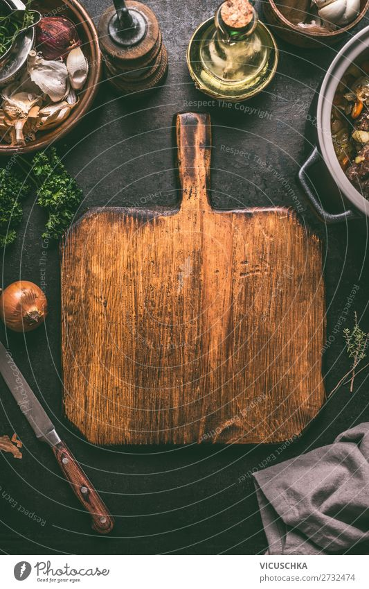 Cutting board with knife on dark kitchen table Food Nutrition Crockery Style Design Table Retro Background picture Vintage Cooking Dish Things Grunge