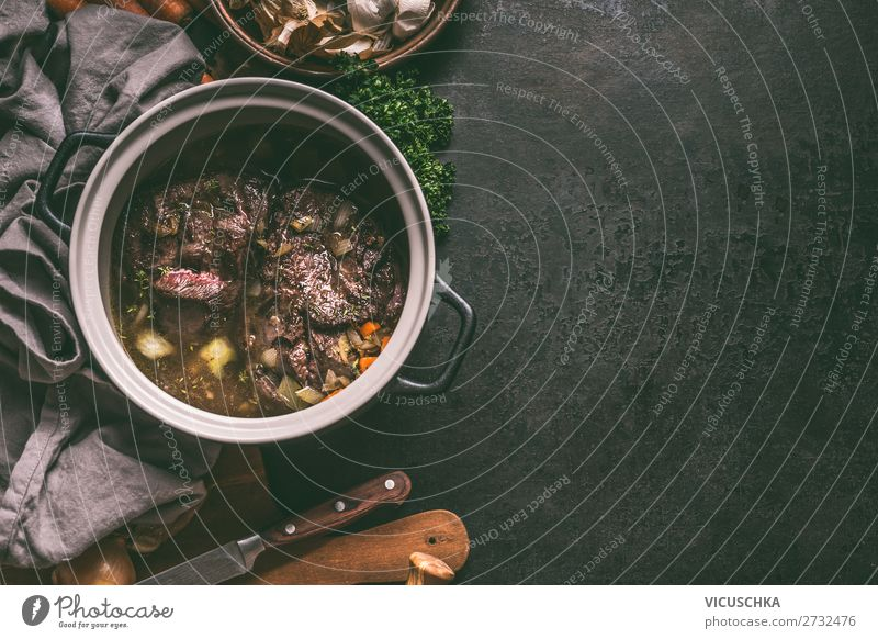 Slowly cooked cast-iron meat in a saucepan Food Meat Vegetable Soup Stew Nutrition Organic produce Crockery Pot Winter Design Background picture Cooking