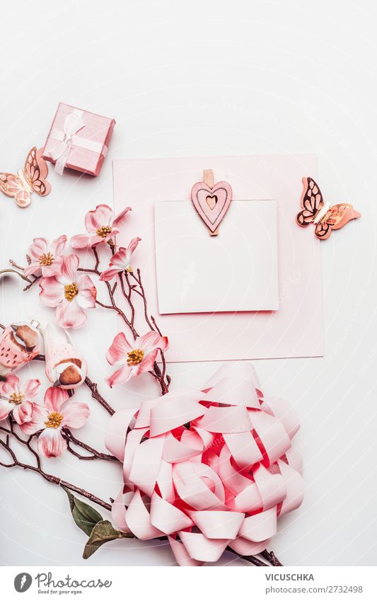 Pink flowers with gift and card Lifestyle Style Design Joy Beautiful Table Party Feasts & Celebrations Valentine's Day Mother's Day Wedding Birthday Decoration