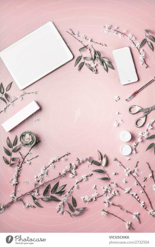 Smartphone and tablet pc mock up with flowers and cosmetics Shopping Style Design Desk Business Cellphone PDA Computer Internet Feminine Flower Stationery