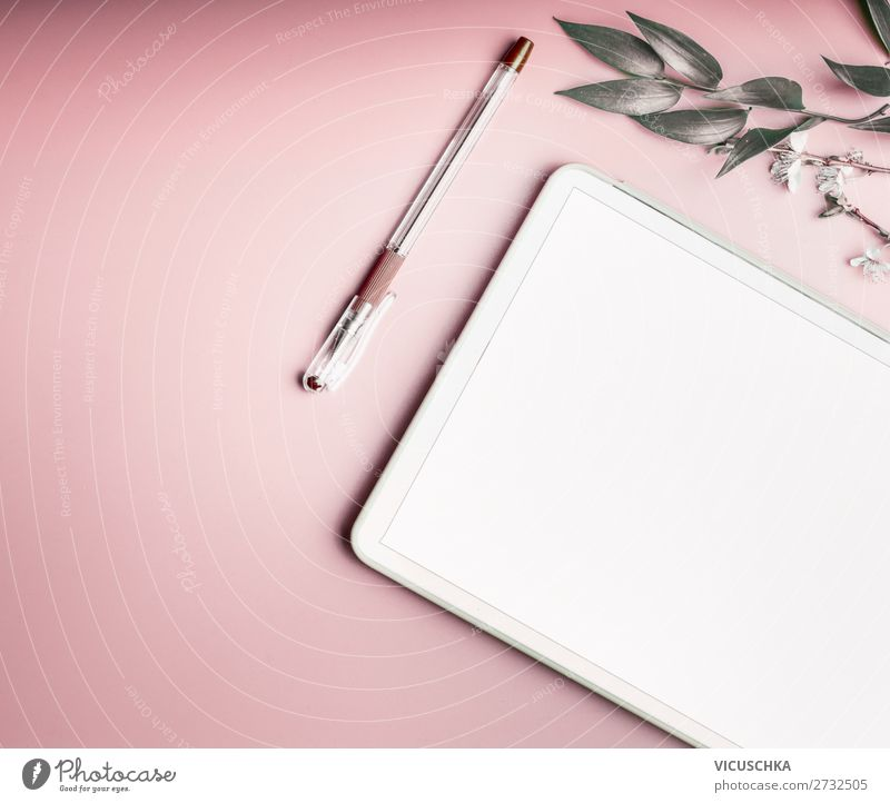 Tablet PC with blank screen on pink background Design Desk Business Notebook Screen Technology Telecommunications Internet Feminine Fashion Hip & trendy Pink