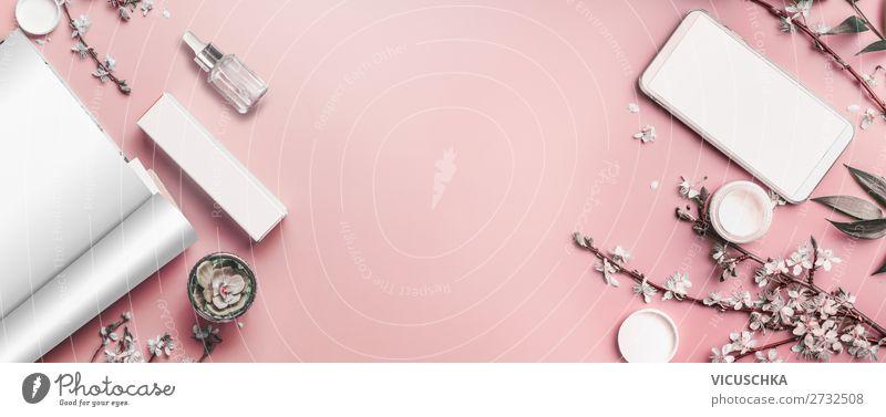 Smartphone and open magazine on pastel pink desktop Style Design Desk Business Cellphone PDA Telecommunications Internet Feminine Print media Newspaper Magazine