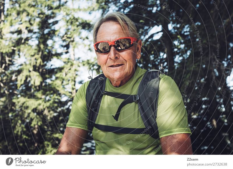 Vacation & Travel Nature Man Summer Landscape Sun Relaxation Forest Mountain Healthy Lifestyle Senior citizen Sports Trip Leisure and hobbies Hiking