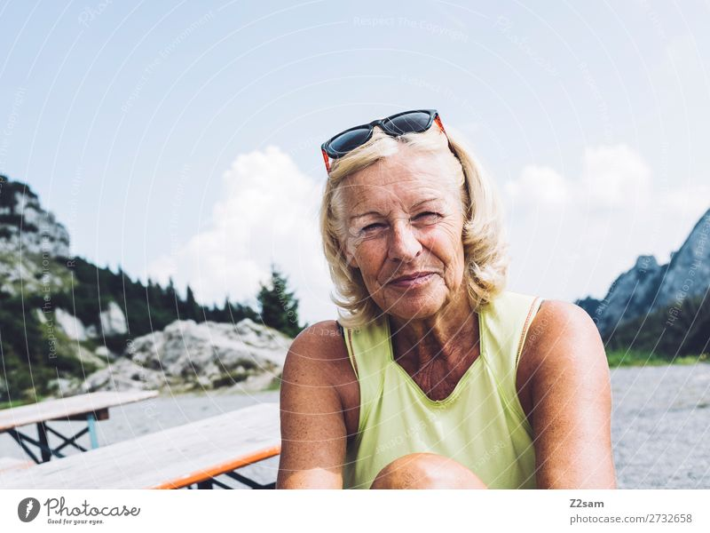 Pensioner at the summit Lifestyle Leisure and hobbies Mountain Hiking Female senior Woman 60 years and older Senior citizen Nature Landscape Summer