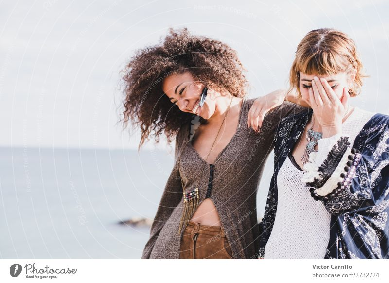 Two Girls Friend Laughing and having a good time in a sunny day Lifestyle Elegant Style Human being Feminine Young woman Youth (Young adults) Woman Adults 2