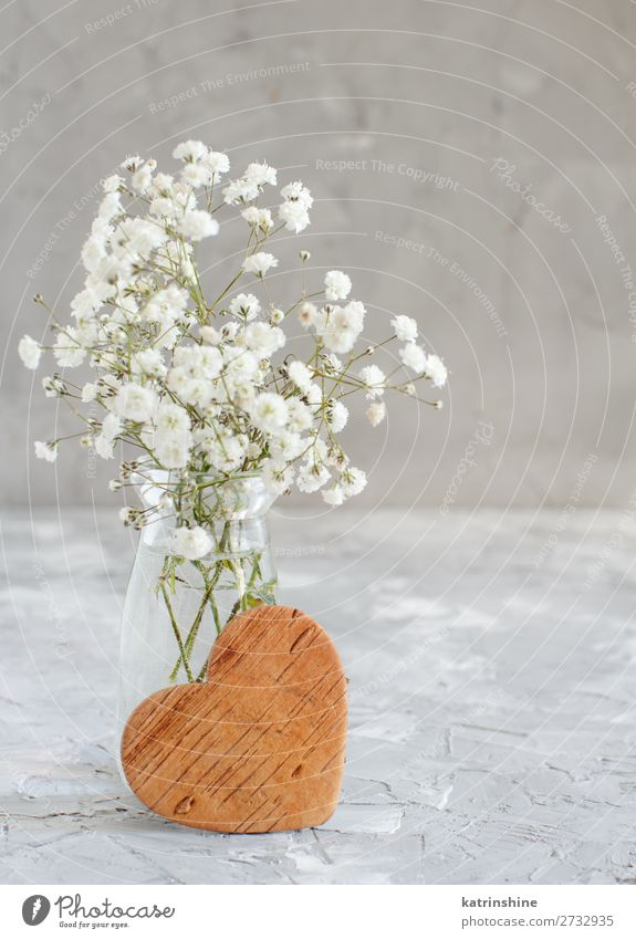 Bouquet of small white flowers and wooden hearts Woman Beautiful White Flower Adults Wood Blossom Small Copy Space Gray Decoration Heart Wedding Mother Bottle