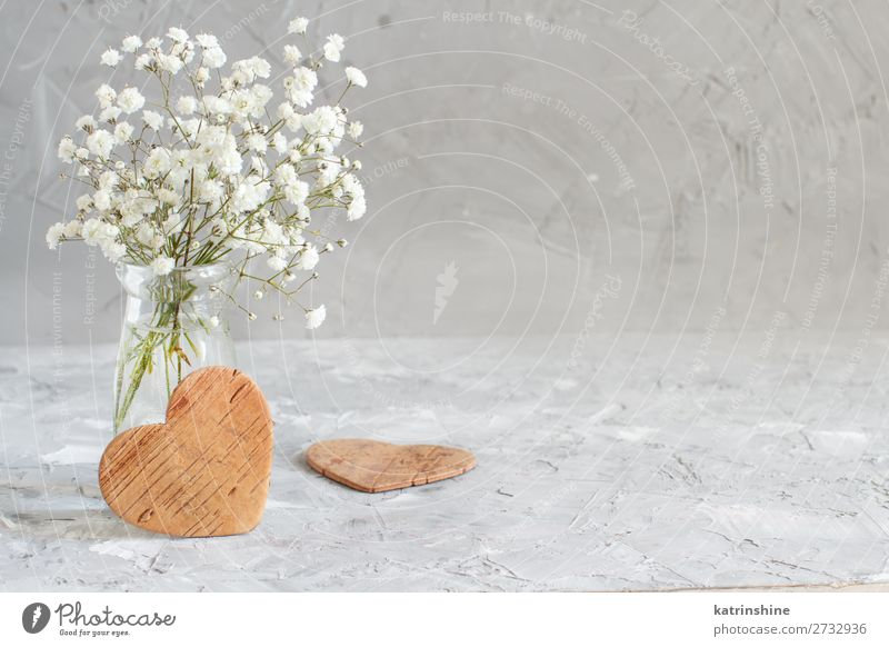 Bouquet of small white flowers and wooden hearts Woman Beautiful White Flower Adults Wood Blossom Small Copy Space Gray Decoration Heart Wedding Bottle Rustic