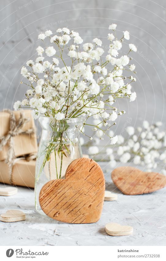 Bouquet of small white flowers and wooden hearts Woman Beautiful White Flower Adults Wood Blossom Small Copy Space Gray Decoration Heart Wedding Craft (trade)