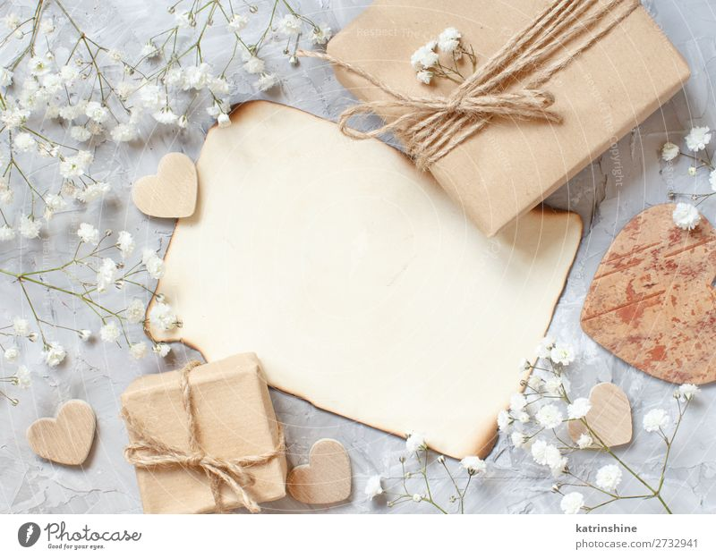 Gift boxes with small white flowers and hearts Woman Beautiful White Flower Adults Wood Blossom Small Copy Space Gray Above Decoration Heart Paper Wedding