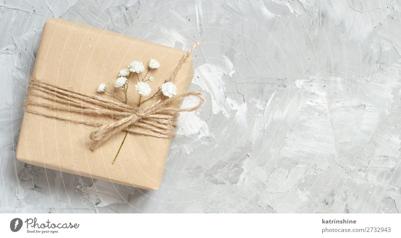 Gift boxes with small white flowers Woman Beautiful White Flower Adults Wood Blossom Small Copy Space Gray Above Decoration Wedding Mother Craft (trade) Rustic