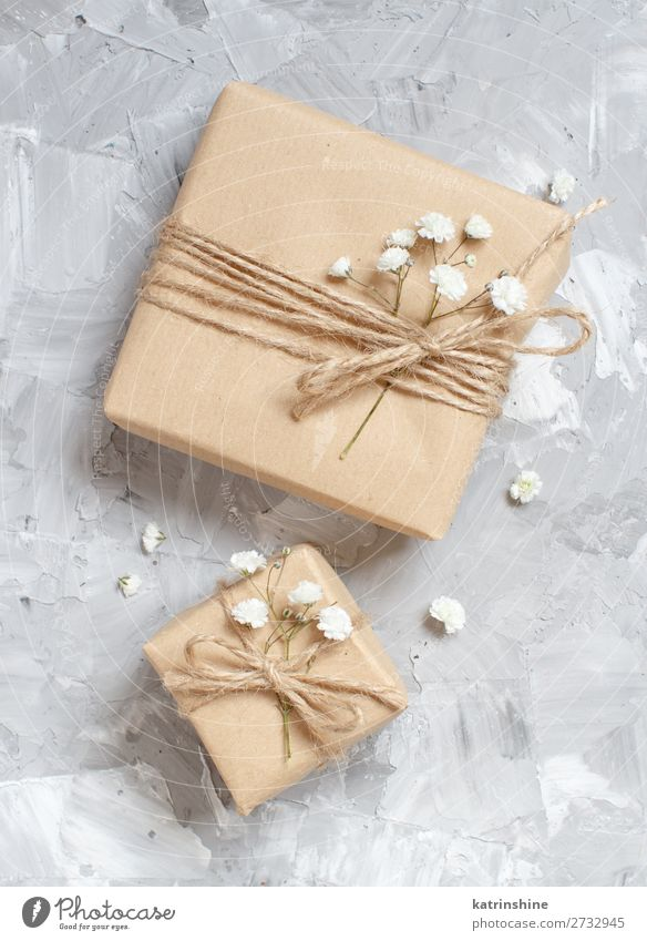 Gift boxes with small white flowers Beautiful Decoration Valentine's Day Wedding Birthday Craft (trade) Woman Adults Flower Blossom Wood Small Above Gray White