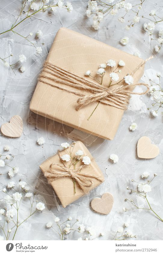 Gift boxes with small white flowers and hearts Woman Beautiful White Flower Adults Wood Blossom Small Copy Space Gray Above Decoration Heart Wedding