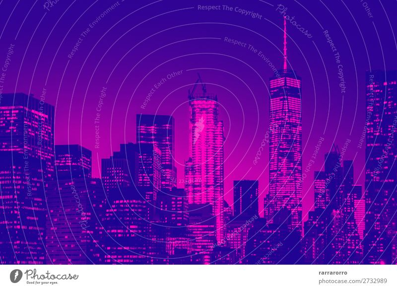 Night view of lower Manhattan skyline in New York Sky Vacation & Travel Blue Landscape Architecture Business Building Art Tourism Office Modern Vantage point