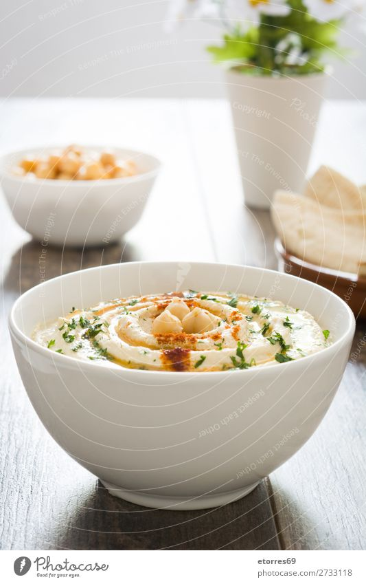 Hummus in bowl and pita bread Bread Food Healthy Eating Food photograph Dish Nutrition Chickpeas Coriander Lemon Olive oil Vegan diet Arabia tahini Bowl Dip