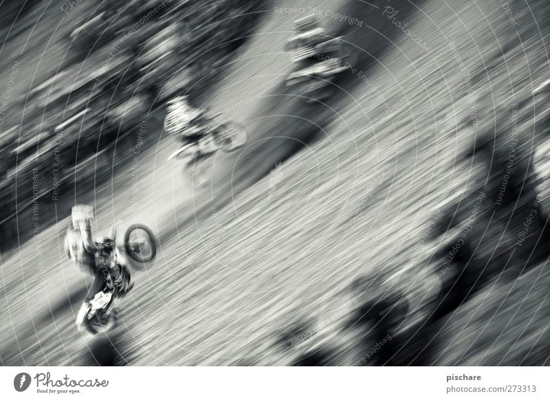 speed gear Motorsports Sporting event Motorcycle Driving Rebellious Speed Motocross bike Black & white photo Exterior shot Blur Motion blur