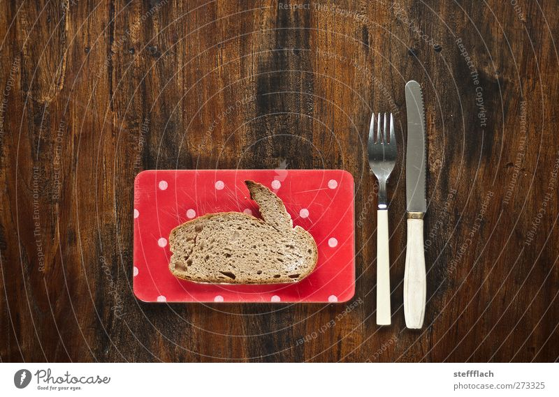 Animal Wood Nutrition Food Table Easter Kitchen Kitsch Hunting Breakfast Bread Hare & Rabbit & Bunny Plate Surrealism Knives Cutlery