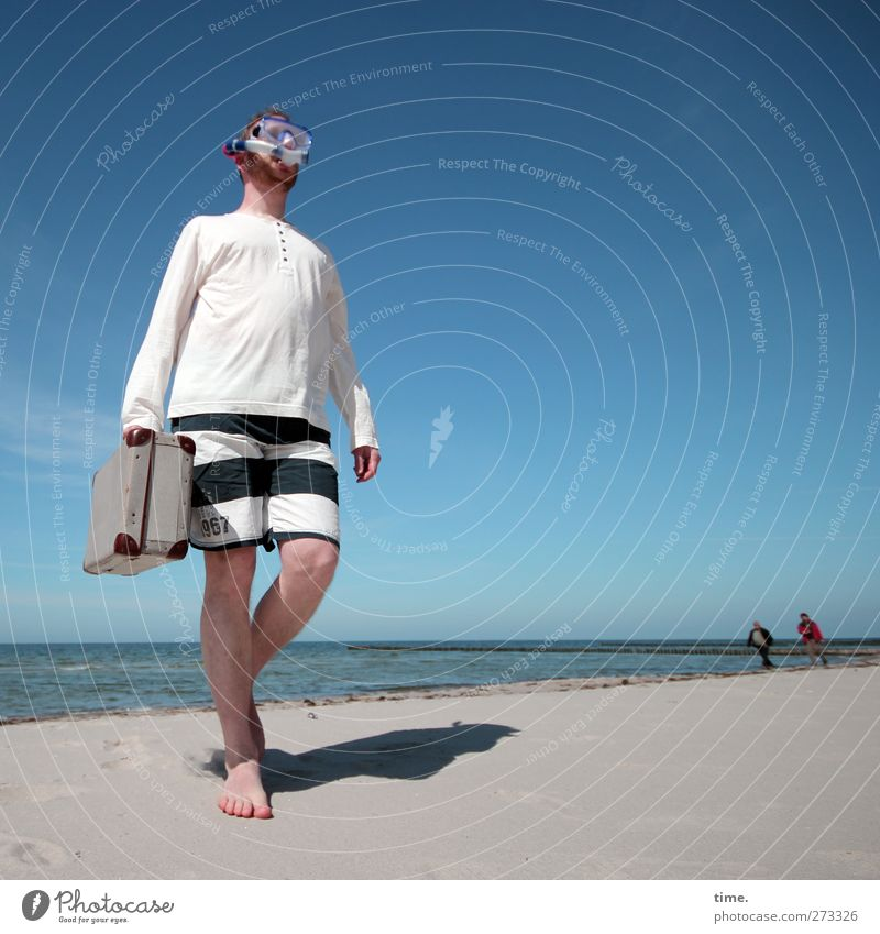 Hiddensee | Discreet money transfer Human being Masculine Man Adults Body 3 30 - 45 years Environment Sand Water Sky Horizon Spring Beautiful weather Coast