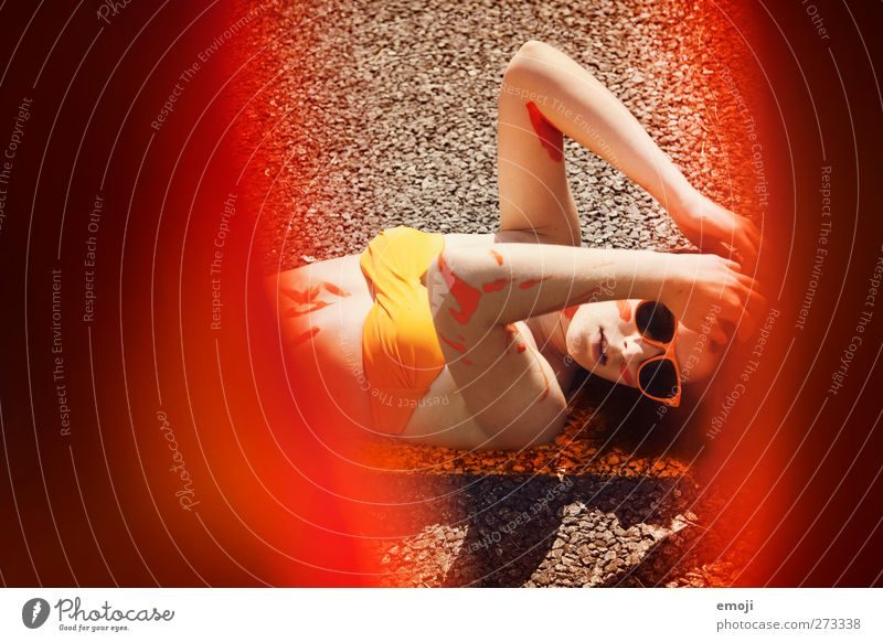 Human being Youth (Young adults) Adults Feminine Warmth Young woman Art Orange 18 - 30 years Bikini Bodypainting