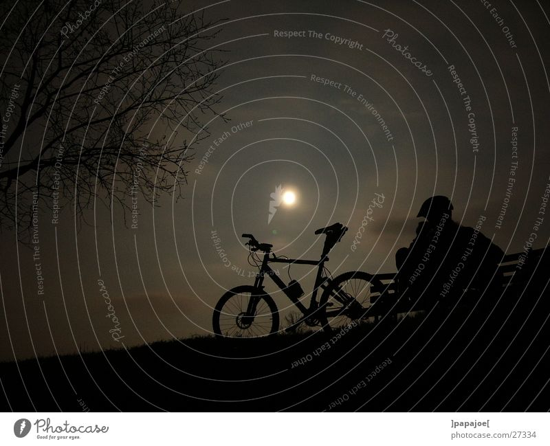 bikin' in the moonlight Mountain bike Calm Night Break Extreme sports Moon nightride Silhouette