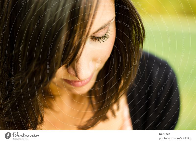 look down Woman Human being Young woman Close-up Face Skin Nature Natural Beautiful Attractive European Downward Sadness Grief Sensitive Delightful