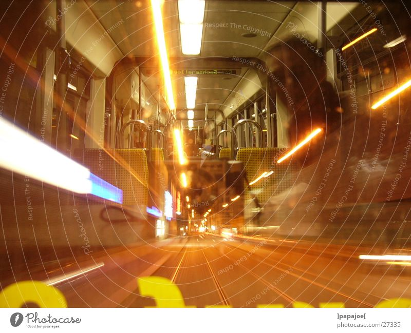 nightliner Tram Night Reflection Speed Long exposure Transport line 13