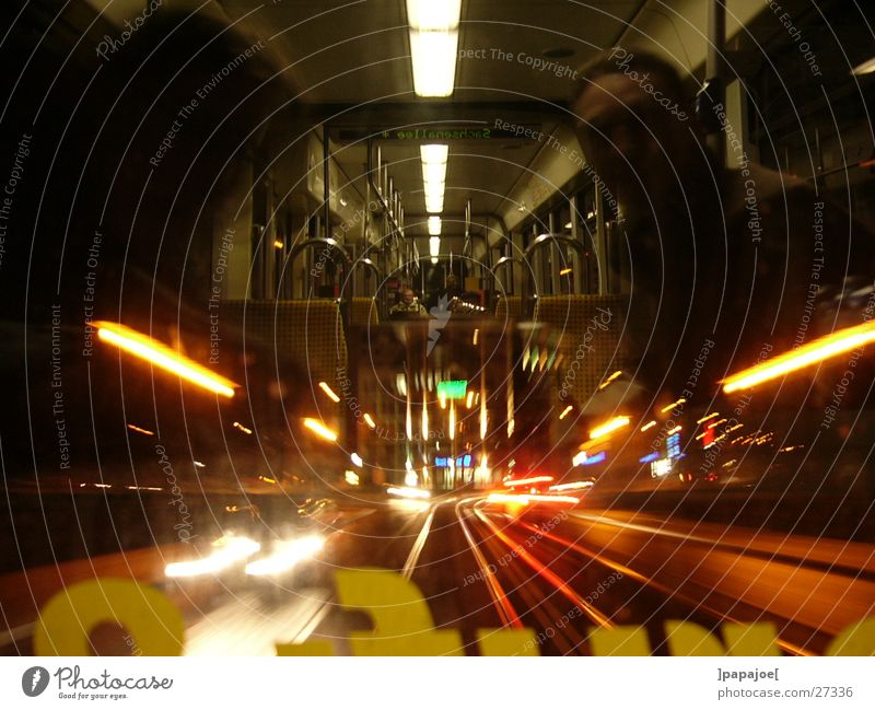 nightliner 2 Tram Night Reflection Speed Long exposure Transport line 13