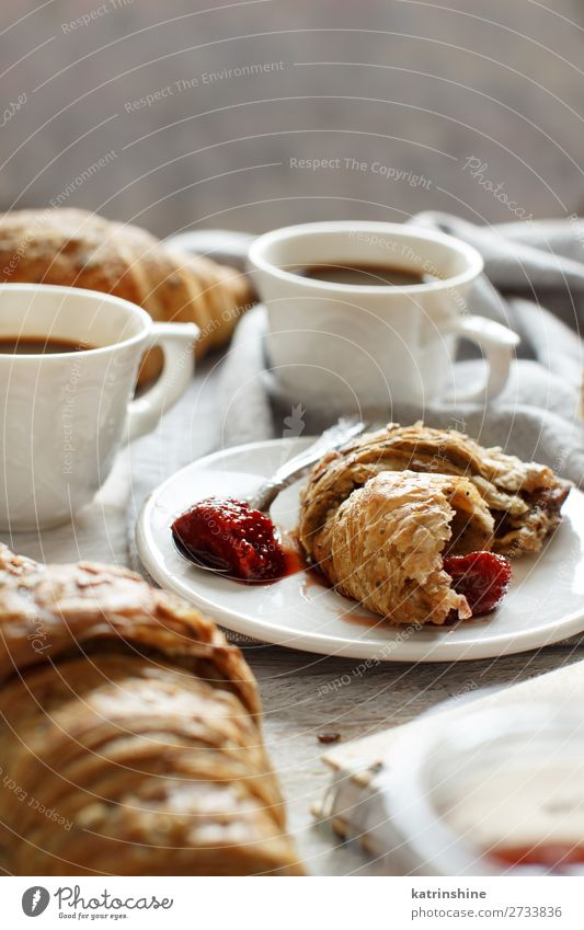 Breakfast with coffee and croissant Bread Croissant Dessert Jam Beverage Espresso Spoon Table Valentine's Day Woman Adults Fresh Delicious Brown White Tradition