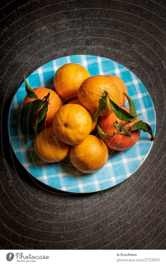 Mandarins on a plate Food Fruit Orange Organic produce Vegetarian diet Diet Plate Healthy Healthy Eating Overweight Kitchen Select Shopping To enjoy Fresh Blue