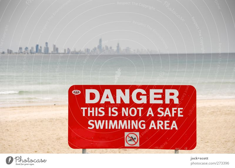 DO NOT SWIM Sky Vacation & Travel City Water Red Beach Far-off places Environment Warmth Coast Swimming & Bathing Sand Metal Horizon Arrangement High-rise