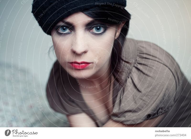 Woman with cap Feminine Young woman Youth (Young adults) 1 Human being 18 - 30 years Adults Fashion Black-haired Brunette Part Esthetic Eroticism pretty Thin