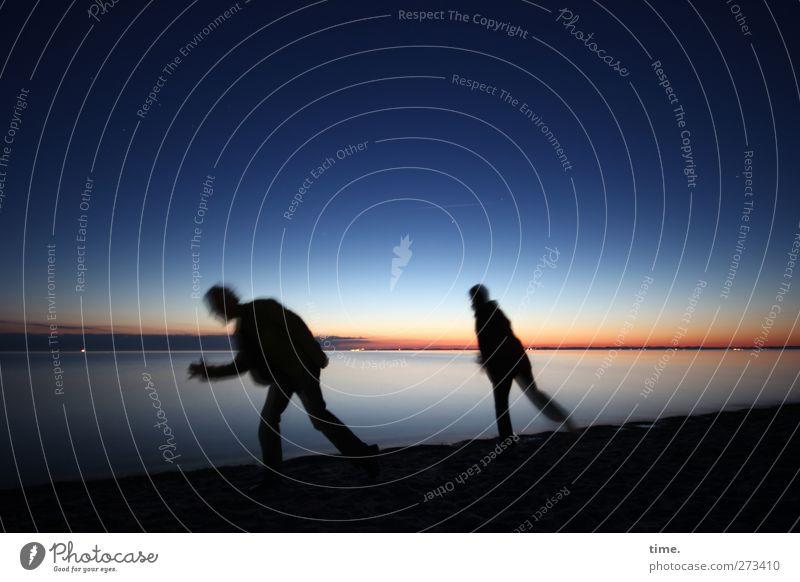 Human being Woman Sky Man Water Beach Adults Environment Far-off places Dark Movement Coast Horizon Moody Contentment Walking