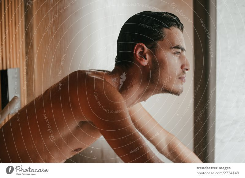 Sexy man in the bathroom Body Face Bathroom Man Adults Beard Eroticism Naked Wet White shower young handsome water attractive Beauty Photography one shirtless