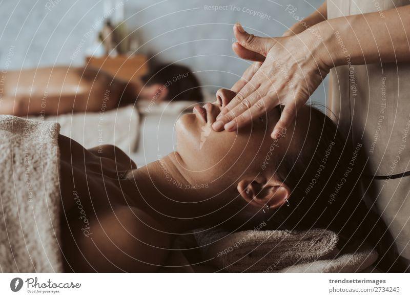 Woman enjoying massage in Spa Lifestyle Luxury Beautiful Body Skin Medical treatment Wellness Relaxation Massage Leisure and hobbies Adults Man Couple Hand