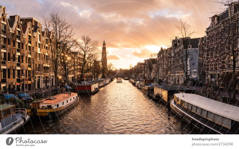 Classic view of a canal in downtown Amsterdam Vacation & Travel Tourism Trip Sightseeing Gale Netherlands Capital city Downtown Old town
