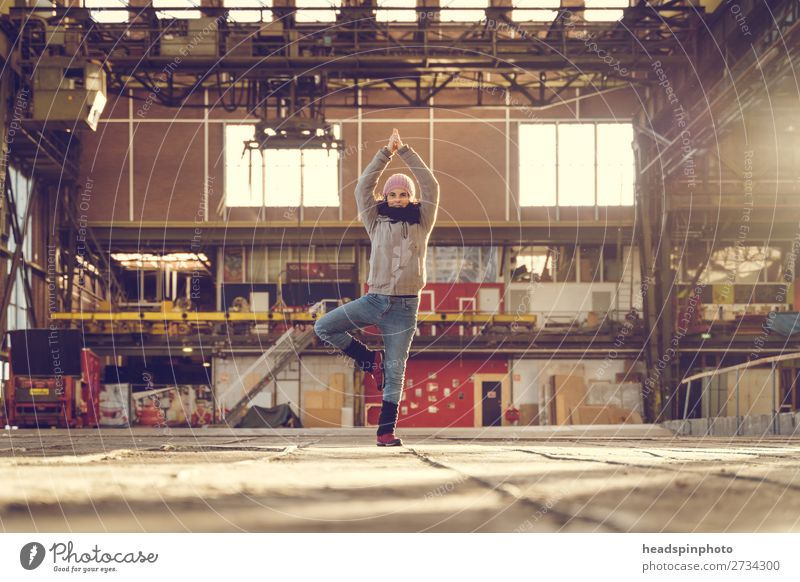 Yoga everywhere: Yoga at sunset in a factory building Lifestyle Healthy Fitness Wellness Well-being Calm Leisure and hobbies Sports Training Feminine