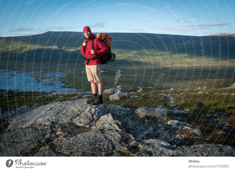 Bright colours, hiking, evening light, fjord, dreamlike Vacation & Travel Adventure Far-off places Freedom Hiking Young man Youth (Young adults) Nature Sunrise