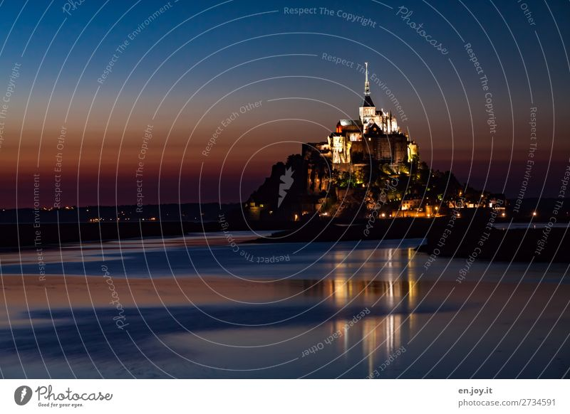 Wanderlust is unreal beautiful. Vacation & Travel Tourism Trip Sightseeing City trip Night sky Sunrise Sunset Ocean Mont St Michel Island Normandie France