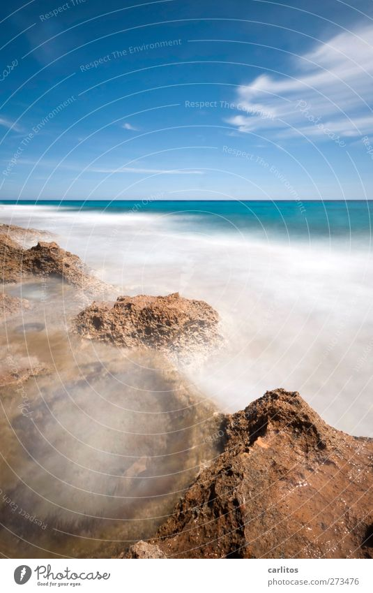 when time stands still Environment Elements Air Water Sky Clouds Summer Beautiful weather Waves Coast Ocean Mediterranean sea Esthetic Soft Blue Brown Turquoise