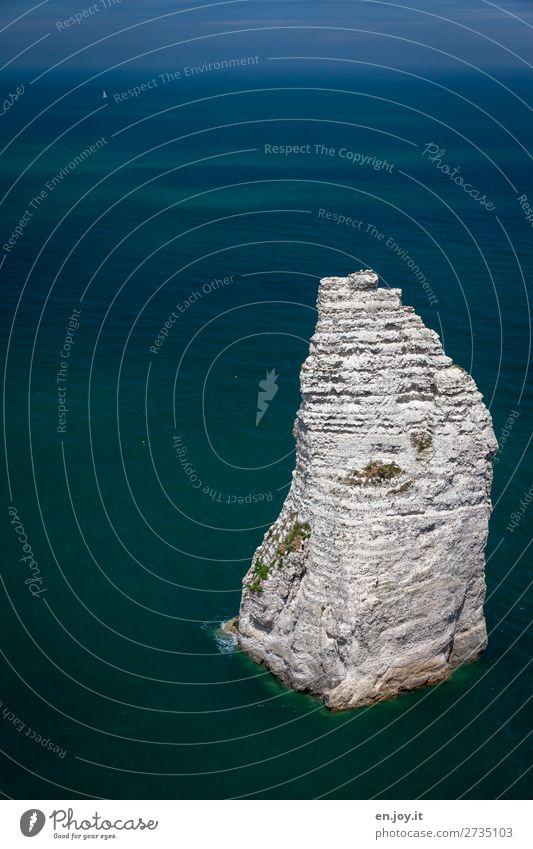 Remained Vacation & Travel Ocean Nature Landscape Sky Horizon Summer Beautiful weather Rock rock needle crag aiguilla Limestone Point Blue Bizarre Climate