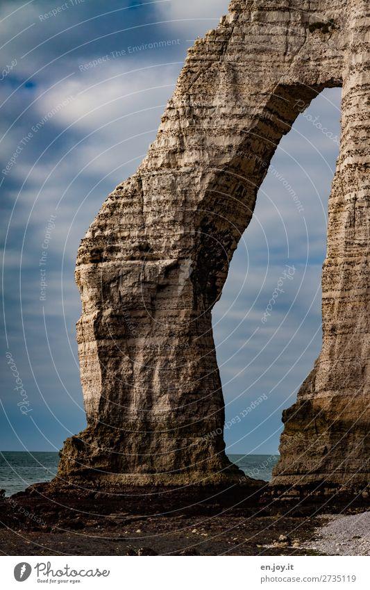 nonchalantly Vacation & Travel Ocean Nature Landscape Sky Clouds Horizon Summer Beautiful weather Rock Coast Cliff chalk cliffs Rock arch Bizarre Climate