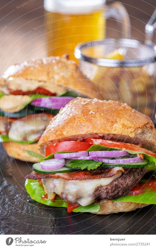 homemade hamburgers Food Meat Cheese Roll Lunch Dinner Fast food Beer Table Stone Wood Fresh Delicious Glass Beer mug bright Slate Cheeseburger Minced meat
