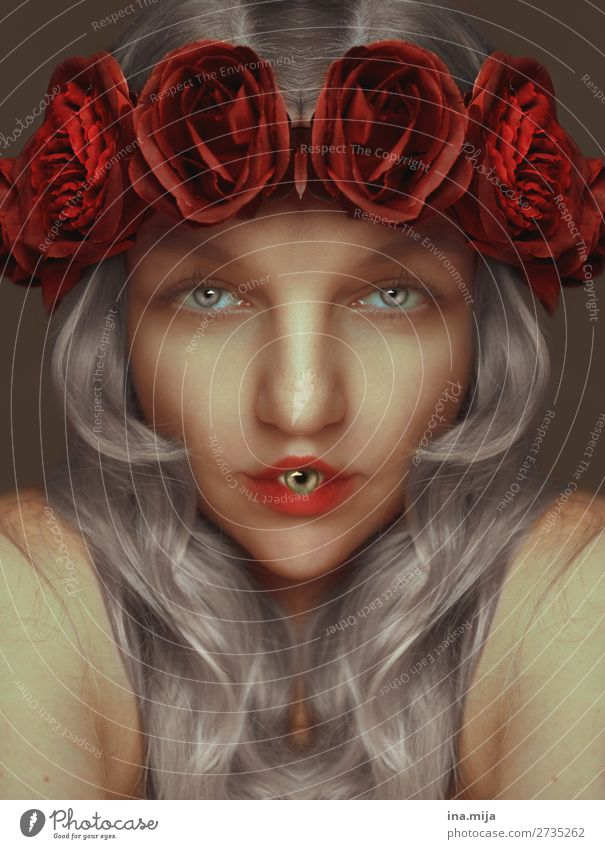 sussed scurill Creepy eyes Eyes Mouth roses Gray-haired Woman Red differently portrait Human being Lips Feminine Face Hair and hairstyles Rumbled words To talk