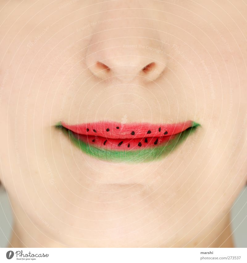 Human being Woman Youth (Young adults) Green Red Summer Adults Nutrition Feminine Food Young woman Eating Fruit Mouth Nose Lips