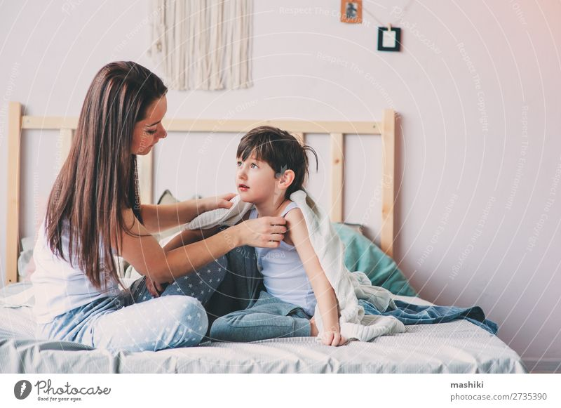 happy mother and son playing Joy Happy Life Relaxation Playing Bedroom Parenting Child Toddler Boy (child) Parents Adults Mother Family & Relations Infancy Love