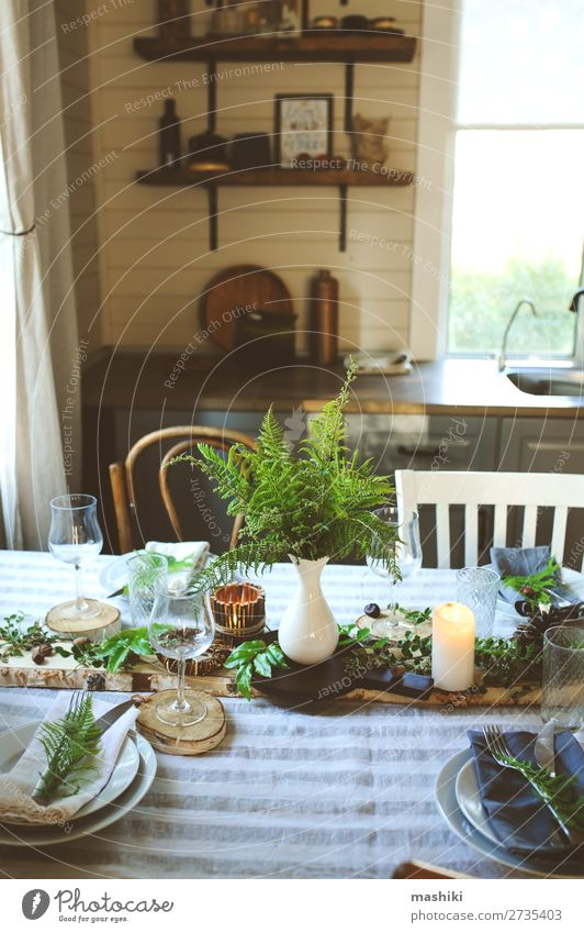 rustic country kitchen interior with festive table Dinner Plate Cutlery Style Design Summer Garden Decoration Table Kitchen Feasts & Celebrations Wedding Nature