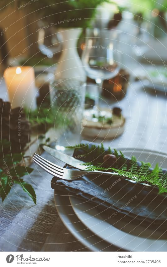 rustic festive table details in forest style Dinner Plate Cutlery Style Design Summer Garden Decoration Table Feasts & Celebrations Wedding Nature Forest Candle